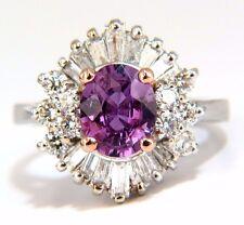 $11000 GIA 2.54CT NATURAL NO HEAT VIVID PURPLE PINK SAPPHIRE DIAMOND RING 18KT