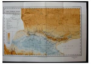 1933-Aurel-Stein-TURFAN-BASIN-3rd-Central-Asia-Expedition-COLOUR-MAP-9