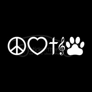 PEACE-LOVE-FAITH-MUSIC-PAW-PRINT-Decal-Sticker-Heart-Treble-Clef-Note-Dog-Cat
