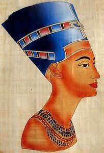 Egyptian-Hand-painted-Papyrus-Artwork-Bust-of-Queen-Nefertiti-12-034-x-16-034