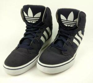 1bd7c40396 Vintage Old School Skateboard Adidas High Top Sneakers Navy Blue Big ...