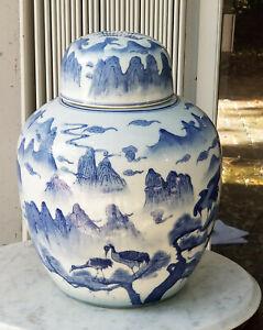 "GRAND ANTIQUE CHINESE EXPORT BLUE and WHITE LANDSCAPE PORCELAIN GINGER JAR ~ 18"""