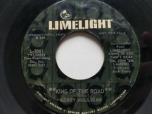 GERRY-MULLIGAN-King-Of-The-Road-Downtown-PROMO-7-034-JAZZ-Limelight-1960-039-s