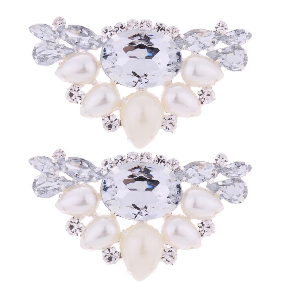 2x Artificial Pearl Rhinestones Bridal Women's Shoe Clips Buckles White