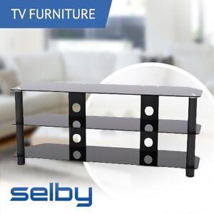 3 Shelf Rack Tempered Glass Tv Stand 1200mm Wide Up To 20kg Black