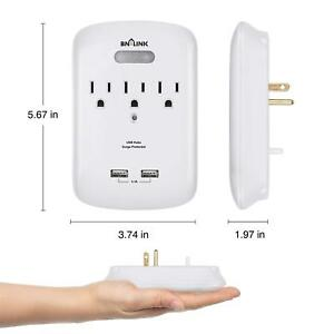 BN-LINK-Wall-Mount-Adapter-Surge-Protector-3-AC-Outlets-and-2-USB-Outlets