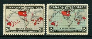 Weeda Canada 85-86 Fine MH 1898 Imperial Penny Postage Map Stamps CV $50