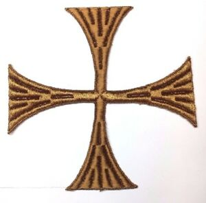 Vintage-Cuadrado-Cruz-6-034-Bordado-para-Coser-Marron-C-Maltes-Emblema-Parche-2Pc
