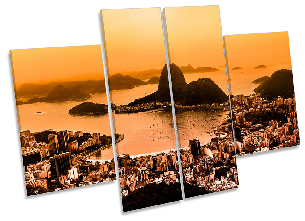 Rio De Janeiro Orange Sunset Picture CANVAS WALL ART Four Panel