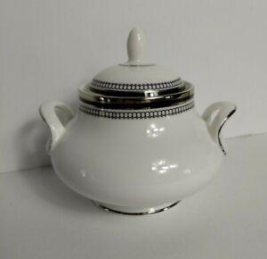 Royal Doulton SARABANDE Sugar Bowl Lidded H5023 Black, Silver Design, Handles