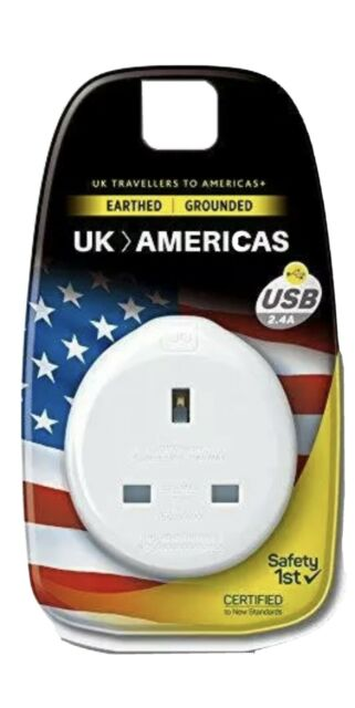 Go Travel Earthed UK to USA Compact American Adaptor inc USB (Adapter Ref 626),