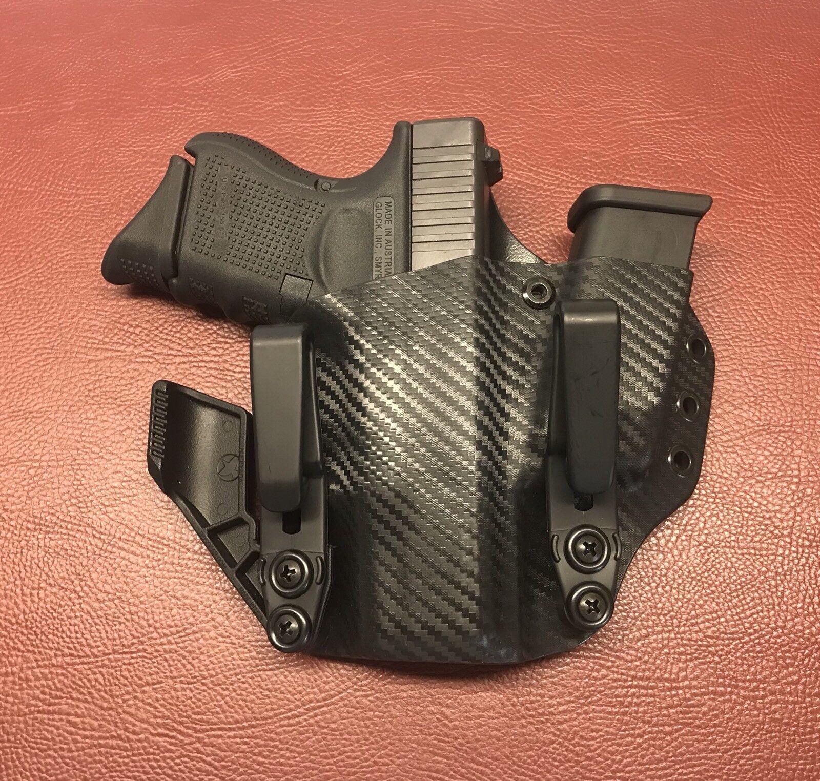 Se adapta a Glock G26, G27 26 27 dentro de la cintura KYDEX Funda Mag portador Sidecar Funda