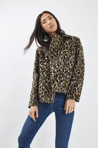 Topshop Animal Leopard Print Biker Jacket Oversize UK 8 10 12 14 BNWT