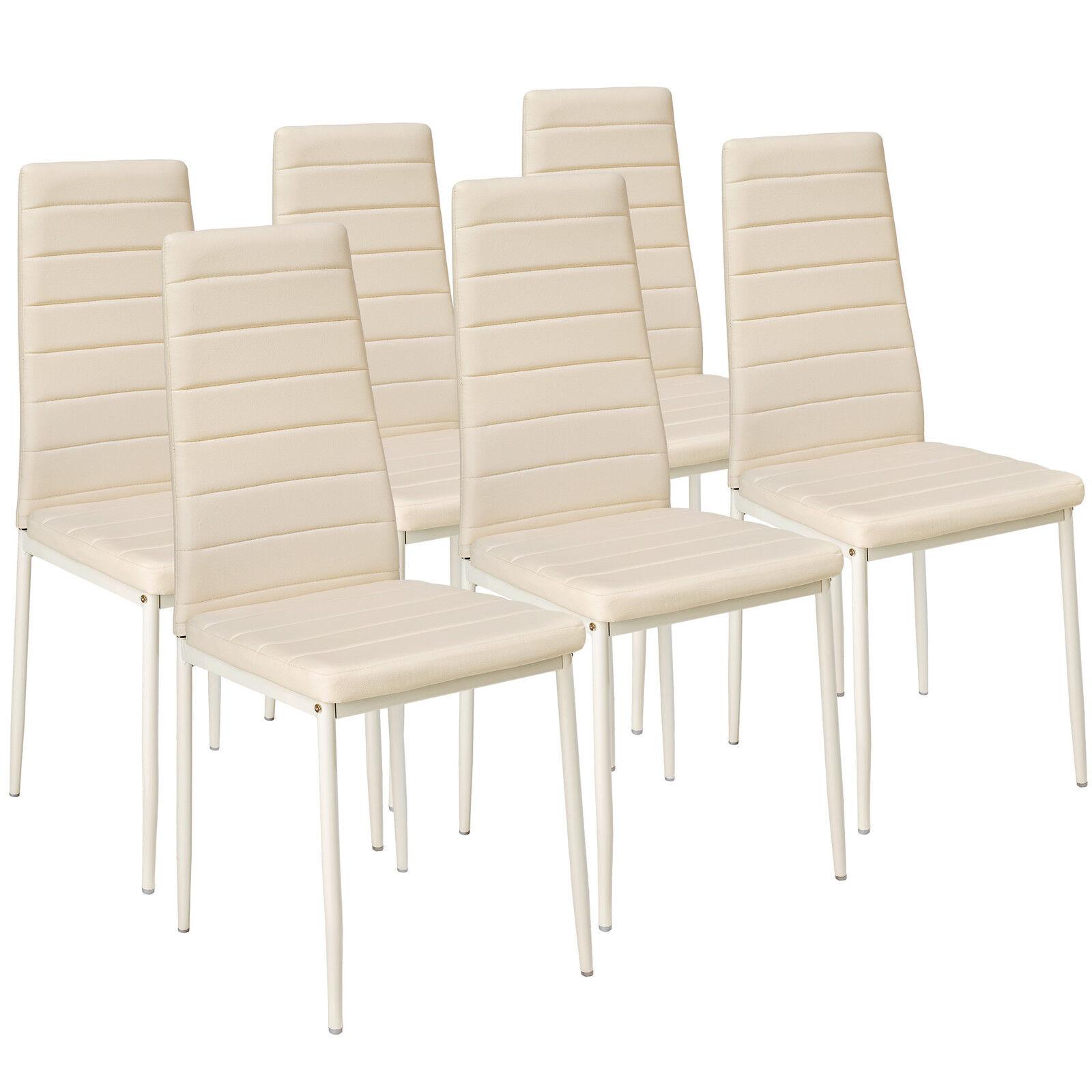 6x Sillas de comedor Juego elegantes sillas de diseño modernas cocina beige