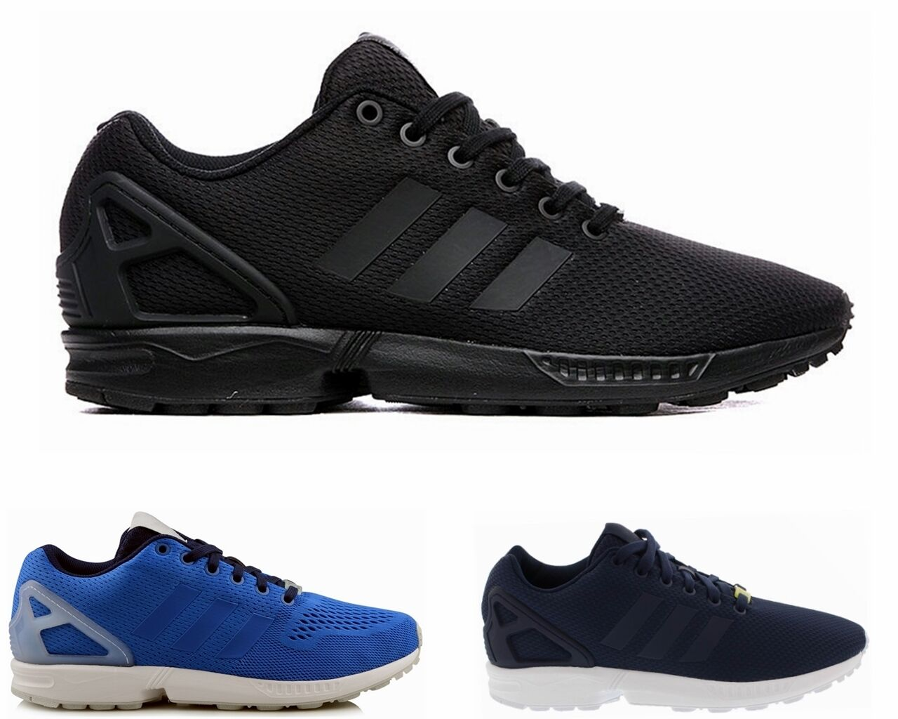 wholesale dealer d52aa 9933a MENS ADIDAS ORIGINALS ZX FLUX BLACK BLUE TRAINERS SIZES UK 6 - 11 30%OFF