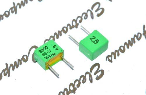 63V 2.5/% pitch:5mm Capacitor WIMA FKP2 3300P 10pcs 3300PF 3.3nF 3,3nF 3n3F