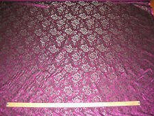 """PURPLE STRETCH SATIN WITH BLACK/SILVER LACE OVERLAY FABRIC 60"""" WIDE BTY"""