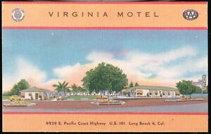 LONG-BEACH-CA-Virginia-Motel-Pacific-Coast-Hwy-Vtg-Postcard-Old-Linen-PC