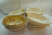 "RESTAURANT BREAD BASKETS VINTAGE WIRE BRASS WOVEN COMMERCIAL 9"" OVAL LOT 15"