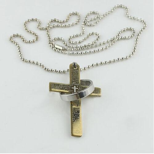 Eg /_ Herren Edelstahl Gebet Kreuz Ring Anhänger Kugelkette Punk Halskette Klass