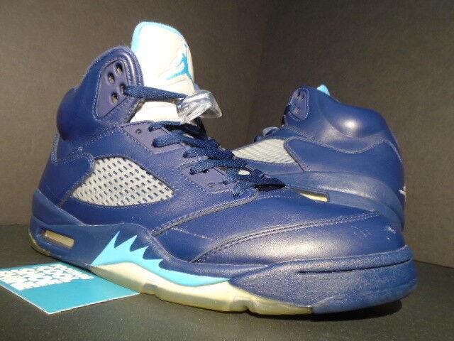 Nike Air Jordan V 5 Retro HORNETS PRE-GRAPE NAVY BLUE TURQUOISE WHITE BLACK 10