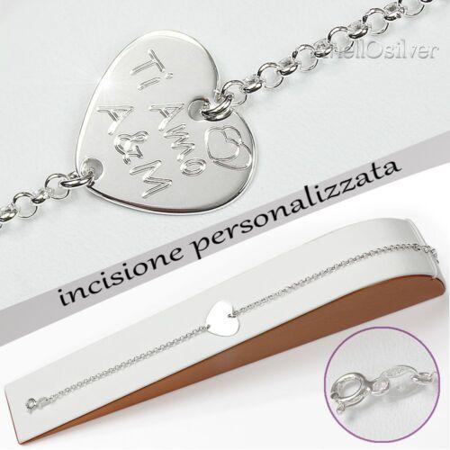 Bracciale Personalizzato con Cuore Incisione Gratis Argento 925 Regalo