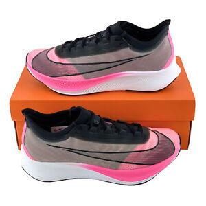 Nike-Zoom-Fly-3-Pink-Blast-Men-039-s-Running-Shoes-VaporWeave-Black-White-AT8240-600