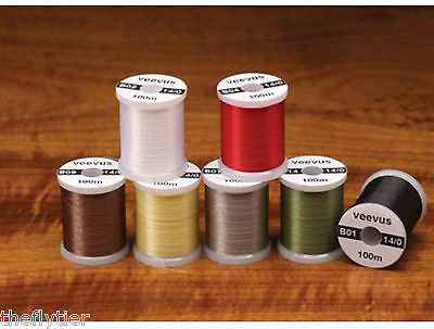 FLY TYING Lt Olive 14//0 VEEVUS THREAD ASSORTED COLORS