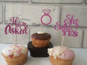 12-ENGAGEMENT-GLITTER-CUPCAKE-TOPPERS-HE-ASKED-SHE-SAID-YES-PARTY-CUPCAKE-TOPPER