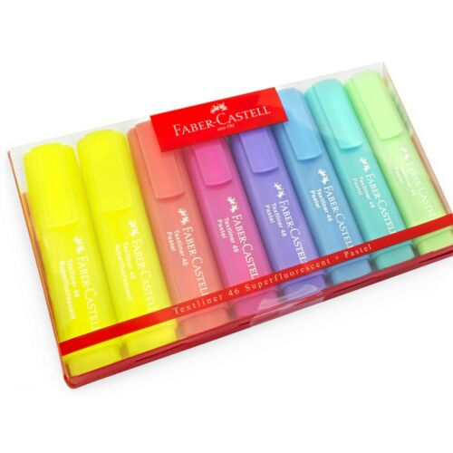Lilac 8 x Faber-Castell Textliner 46 Superfluorescent Pastel Highlighters