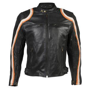 Use-Noir-Et-Orange-Racing-Sports-Moto-Cuir-Veste-Moto