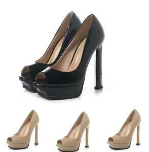 Womens-Peep-Toe-Block-High-Heel-Shoes-Platform-Patent-Leather-Slip-On-Party-Sexy