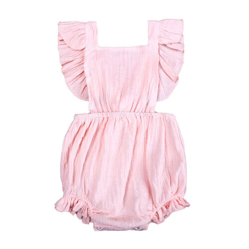 Bébé barboteuse été Couleur Pure barboteuse bébé fille vêtements en lin asymétrique