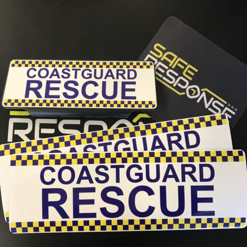 Guardacostas rescate CQ Imanes y blanco de texto estándar Univisor Sun Visor en llamada