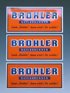 3-x-Blechschild-BROHLER-NATURBRUNNEN-um-1955