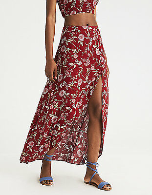 American Eagle AEO Printed Maxi Long Skirt Side Slit Red Boho Floral Print Small