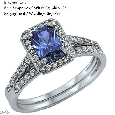 Emerald Cut Blue Sapphire Engagement Sterling Silver Two Ring Set Size 5 - 10