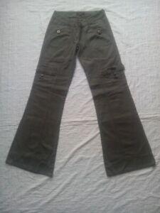 Pantalon-evase-Boot-Cut-multi-poches-taille-36
