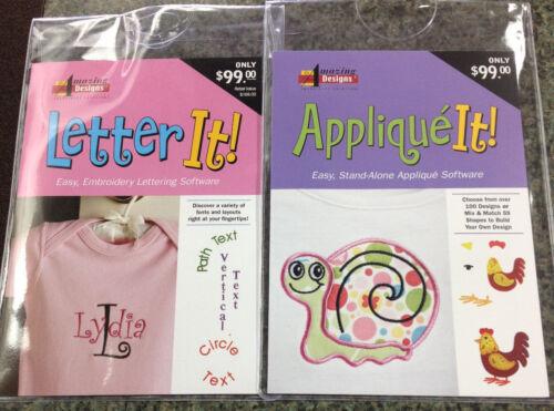 Amazing Designs LETTER IT /& APPLIQUE IT Embroidery Machine Software ComboAD-LIAI