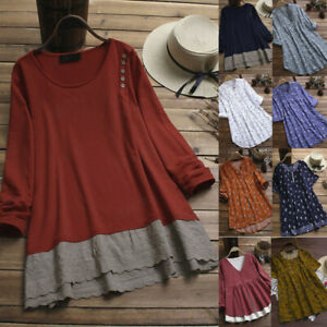 Women-039-s-O-Neck-Top-Solid-Color-Lace-Patchwork-Long-Sleeve-Tops-T-Shirt-Blouse-I