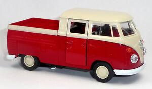VW-Bulli-T1-Doppelkabine-Pritsche-rot-Modellauto-1-37-Metall-Spritzguss-WELLY