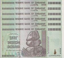 6x 50 TRILLION ZIMBABWE DOLLAR MONEY CURRENCY.UNC* USA SELLER*