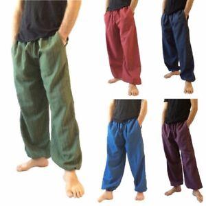 Men-039-s-Baggy-Pants-100-Cotton-Hippie-Yoga-Pants-One-Size-Casual-Harem-Trousers