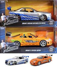 Brian twinpack NISSAN SKYLINE GT-R + TOYOTA SUPRA Fast & Furious 1:24 Jada Toys