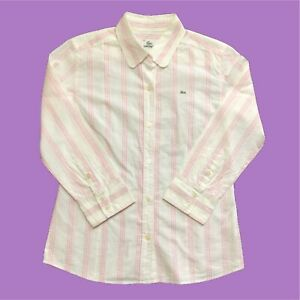 Womens-Lacoste-Shirt-Medium-White-Pink-Long-Sleeve