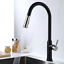 Hot and Cold Black+Brushed Nickel Mixer Kitchen Sink Faucet Tap Pull Out Sprayer