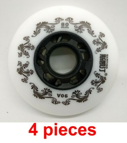 76 or 80 mm inline skates 90A wheel roller blades white outdoor skating tw