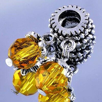 D6370 2Pcs White Gold Filled Silver CZ Charms BEADS Fit European DIY Bracelet