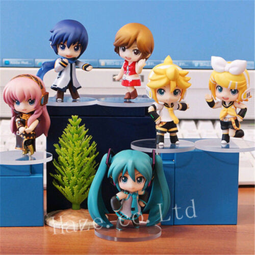 6pcs Anime Miku Hatsune Vocaloid  Nendoroid PVC Action Figure Statue