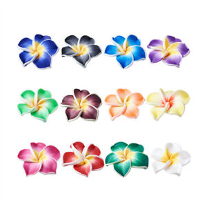 200x-Handmade-Polymer-Clay-3D-Flower-Plumeria-Beads-Mixed-Color-12x8mm-Hole-2mm